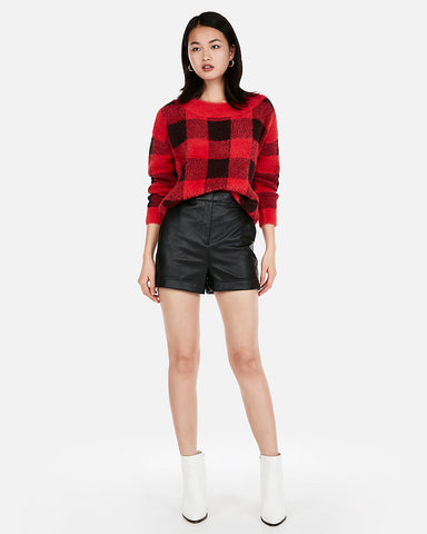 ec4faa37042a EXPRESS Super High Waisted Cuffed Faux Leather Shorts in Black