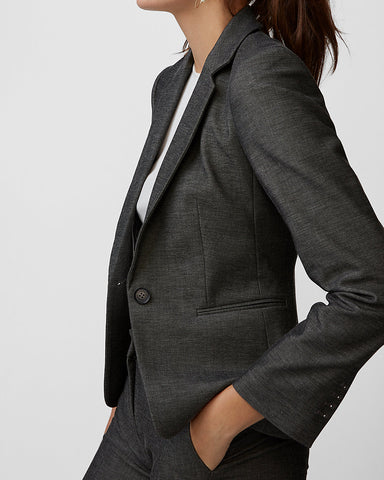 Notch Collar One Button Blazer in Black And White