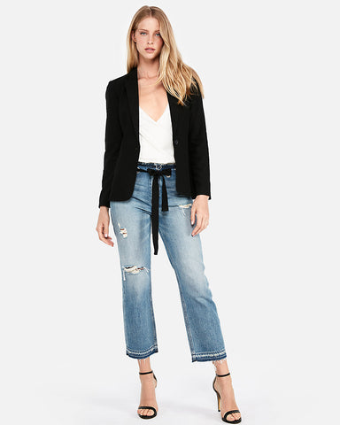 One-Button Blazer In Pitch Black