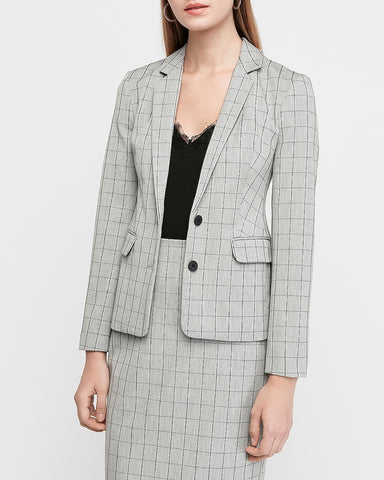 Windowpane Notch Collar Two Button Blazer in Gray Print