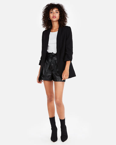 Ruched Sleeve Boyfriend Blazer In Pitch Black