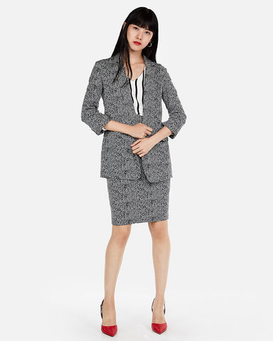 Jacquard Ruched Sleeve Boyfriend Blazer in Black And White
