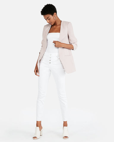 Ruched Sleeve Boyfriend Blazer In Pale Pink