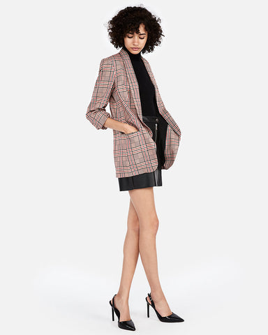 Plaid Ruched Sleeve Boyfriend Blazer In Red Print
