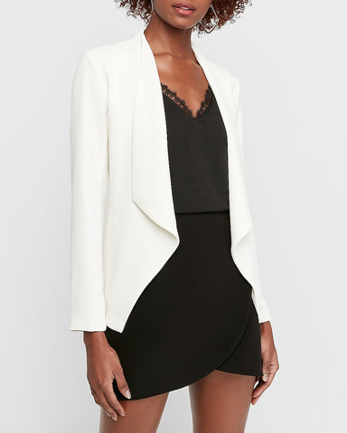 Drape Front Flyaway Cinched Back Jacket in Ivory