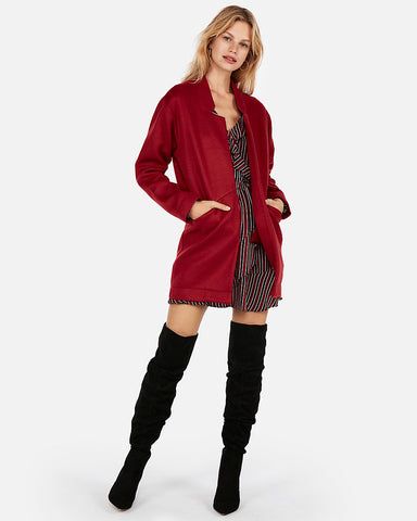 Oversized Tailored Knit Blazer in Cranberry