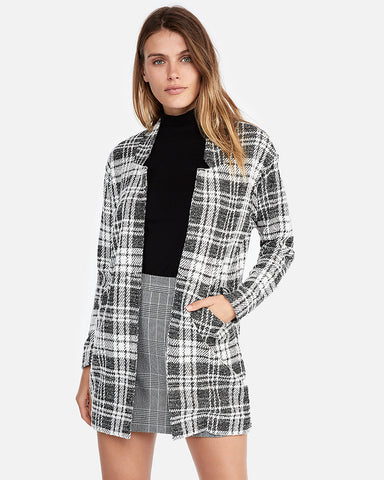 Plaid Tailored Knit Blazer In Black And White