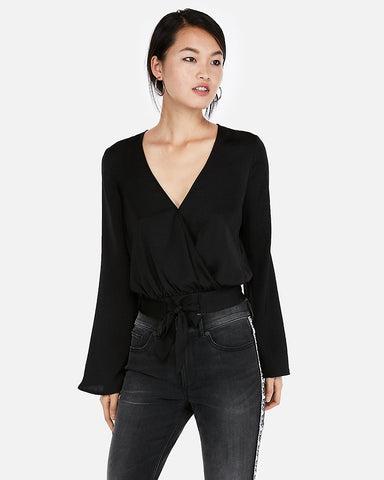 Surplice Tie Front Bell Sleeve Top in Black