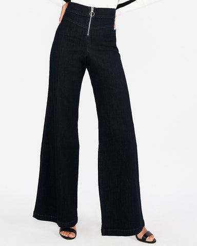 Super High Waisted Exposed Zip Stretch Wide Leg Jeans In Dark Wash