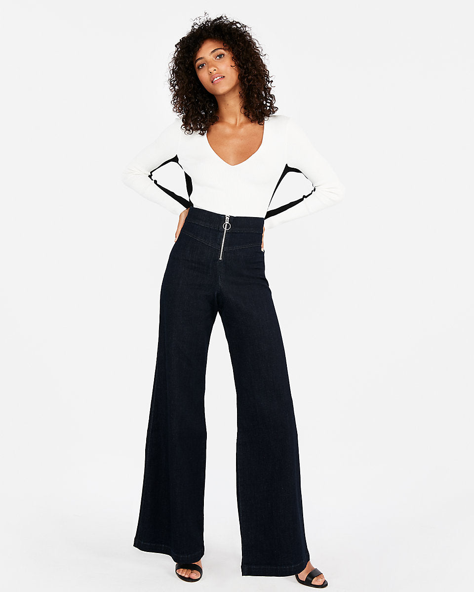 390261034e Express | Super High Waisted Exposed Zip Stretch Wide Leg Jeans In ...