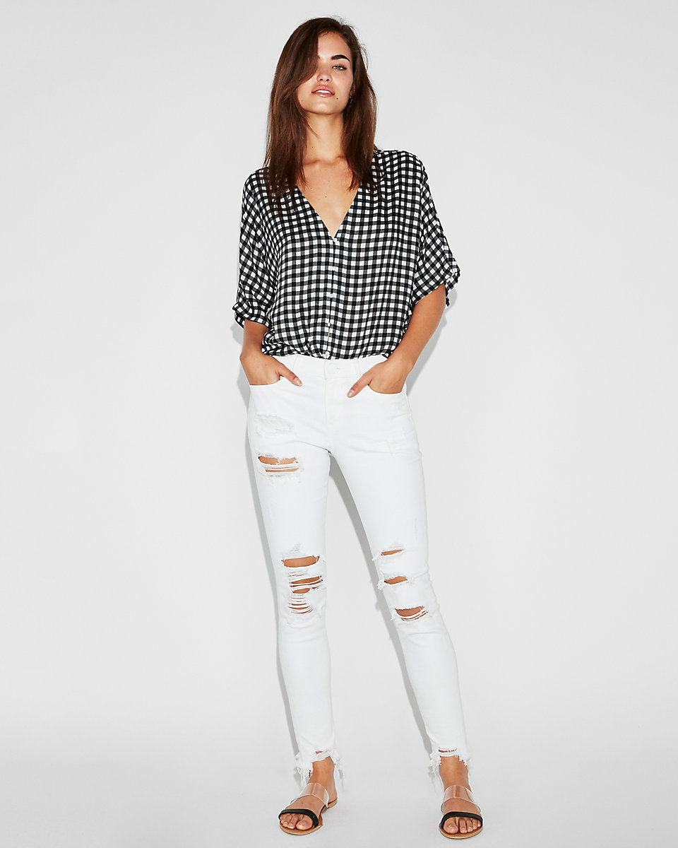 4847df0ba133a Express | Mid Rise White Ripped Stretch Jean Ankle Leggings In True ...