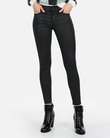 Mid Rise Sparkle Stretch Ankle Skinny  In Black