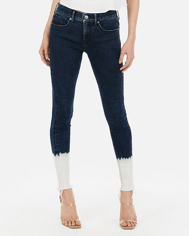 Mid Rise Denim Perfect Burnout Ankle Leggings in Dark Wash