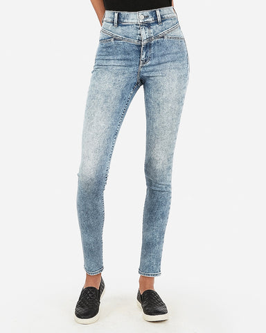Super High Waisted Acid Wash Ankle Legging in Light Wash