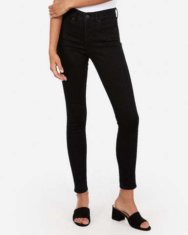 High Waisted Denim Perfect Ankle Skinny in Pitch Black