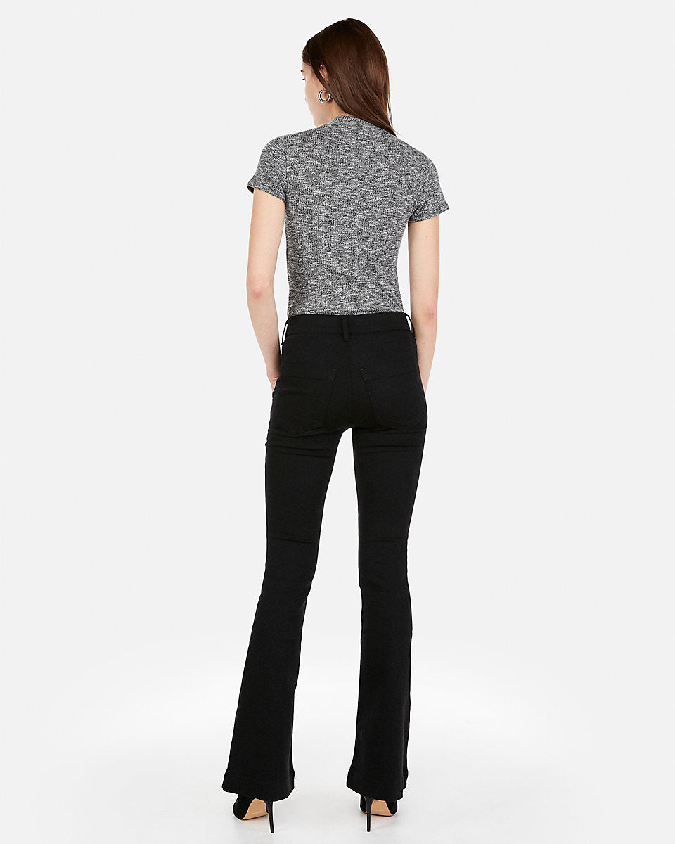 8d1995a57 Express | High Waisted Black Bell Flare Jeans in Black | Express ...