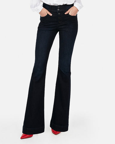 High Waisted Button Fly Stretch Flare Jeans in Dark Wash