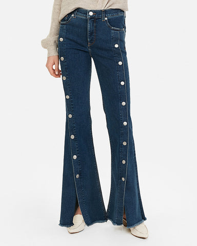High Waisted Perfect Button-Up Bell Flare Jeans in Dark Wash