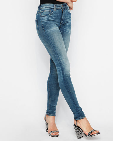High Waisted Medium Wash Denim Perfect Stretch+ Leggings In Medium Wash