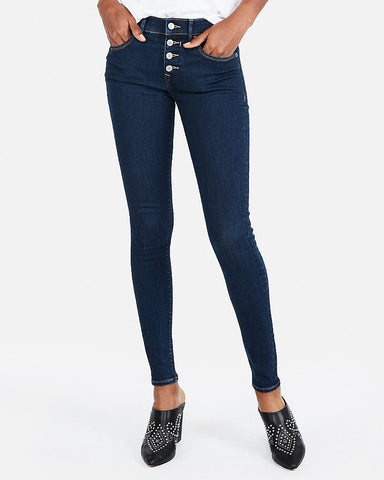 Mid Rise Button Fly Denim Perfect Stretch+ Jean Skinny In Dark Wash