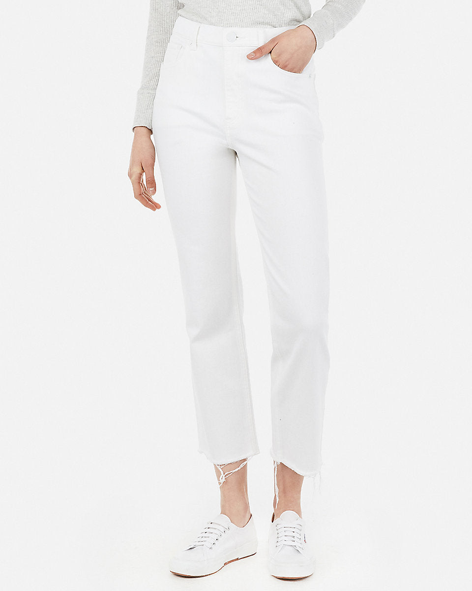 a943ff8badd4 Express | High Waisted White Straight Cropped Jeans in White ...