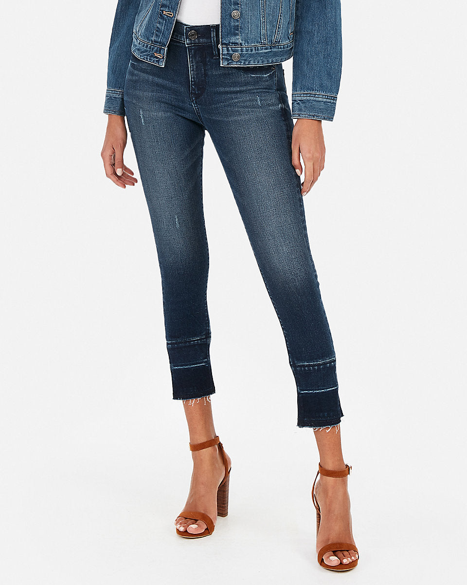 c04a097ee4c58 Express | Mid Rise Perfect Stretch+ Crop Jean Leggings in Dark Wash ...
