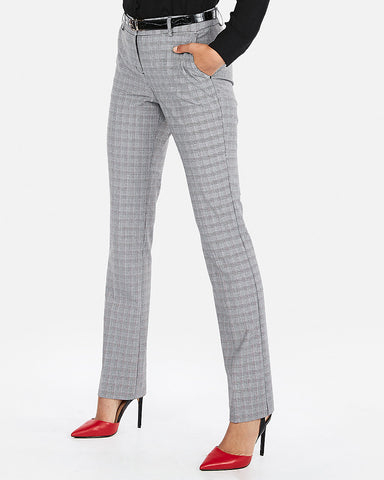 Mid Rise Plaid Barely Boot Columnist Pant In Gray Print