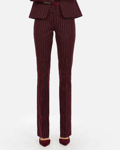 Mid Rise Striped Barely Boot Columnist Pant in Berry