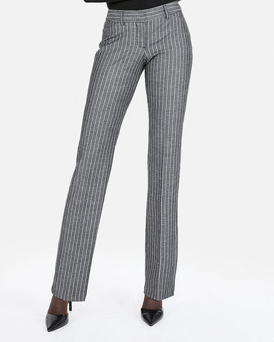 Low Rise Barely Boot Ticking Stripe Editor Pant In Gray Stripe