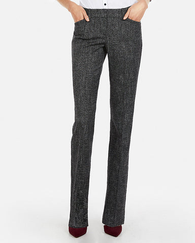 Low Rise Tweed Editor Barely Boot Pant in Black And White