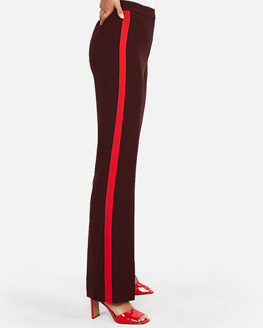 Super High Waisted Side Stripe Wide Leg Pant In Cabernet