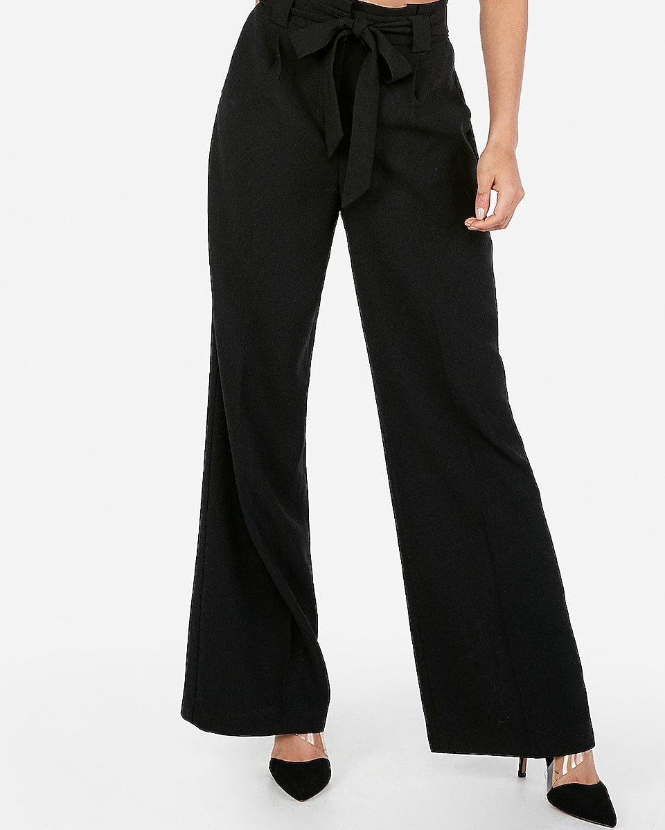 4ec814335830 Express | High Waisted Sash Tie Wide Leg Pant in Black | Express ...