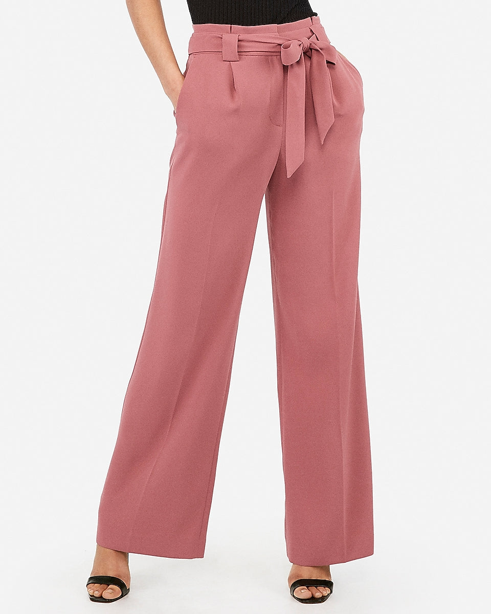 e7c5b9772a1f Express | High Waisted Sash Tie Wide Leg Pant in Rose | Express ...