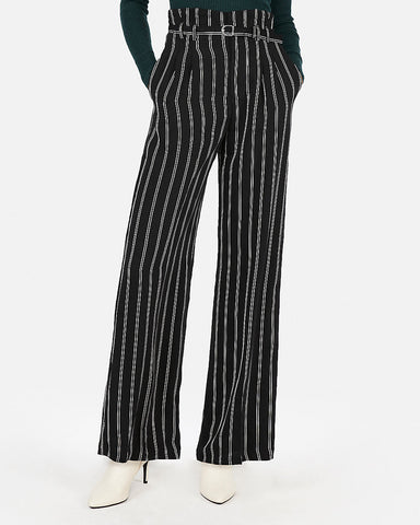 High Waisted Stripe Belted Wide Leg Pant In Black And White