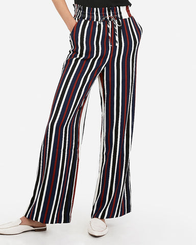 High Waisted Striped Wide Leg Drawstring Pant in Stripe