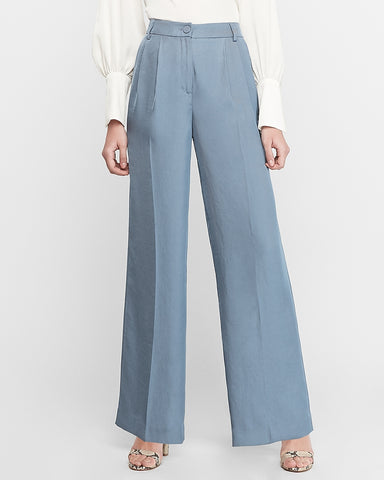 High Waisted Pleated Wide Leg Pant in Chambray Blue