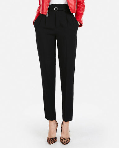 High Waisted Belted Waist Ankle Pant in Black