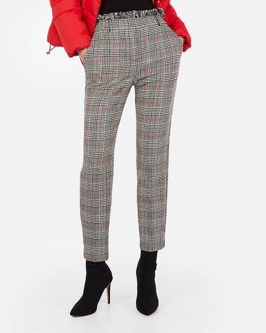 High Waisted Plaid Frayed Ankle Pant in Plaid