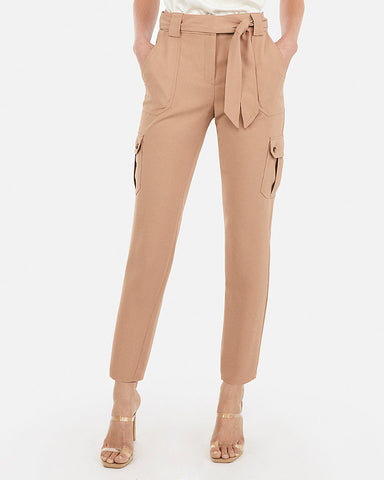 a06155a80b61c Express High Waisted Sash Tie Utility Cargo Ankle Pant in Soft Camel