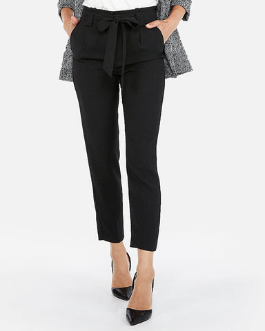 High Waisted Sash Waist Ankle Pant In Pitch Black