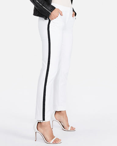 Mid Rise Side Stripe Columnist Ankle Pant In True White
