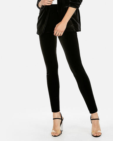 High Waisted Velvet Leggings in Black