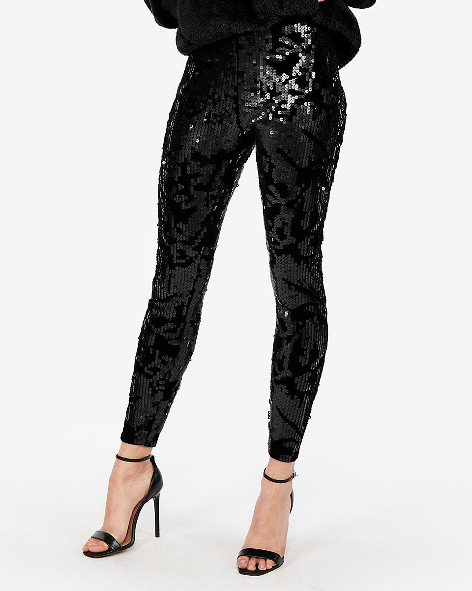 65dff68d9a6d0 Express | High Waisted Velvet Sequin Leggings in Black | Express ...