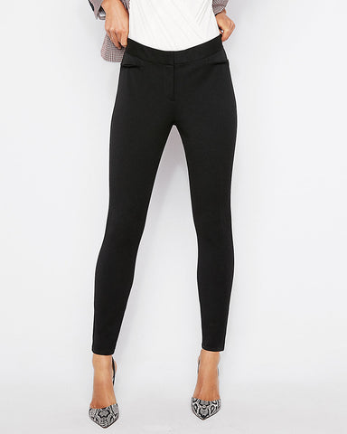 Mid Rise Performance Stretch Ankle Leggings in Black