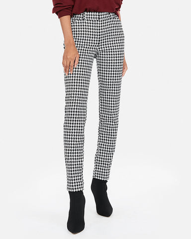Mid Rise Houndstooth Skinny Pant In Black And White