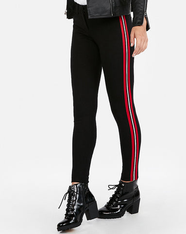 Mid Rise Side Stripe Skinny Pant In Black