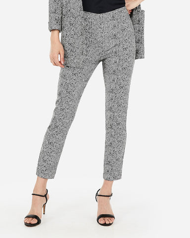 High Waisted Skinny Cropped Jacquard Pant in Black And White