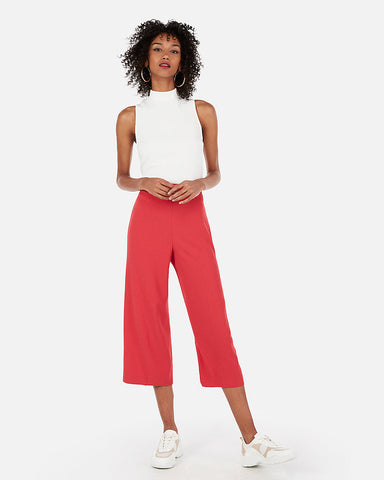 High Waisted Culotte Pant in Guava