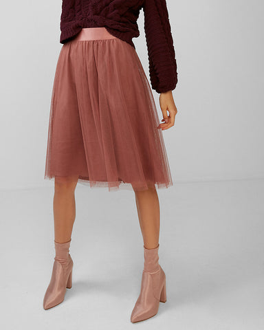 High Waisted Tulle Midi Skirt in Mauve