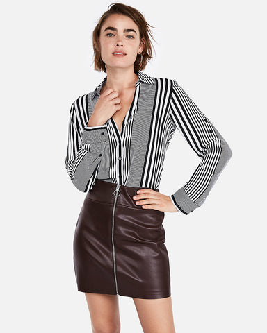 (Minus The) Leather O-Ring Zip Front Mini Skirt in Chocolate